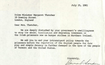 Sanders wrote to Thatcher about 1981 Hunger Strike in Long Kesh